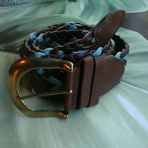 BROWN & TURQUOISE  WEAVED  BELT NO HOLES